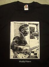 Johnny Winter vintage style t shirt blues guitar muddy waters sm-5xlg royal blue