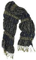 Maya Schal blau schilfgrün Raffungen  Polyester Fransen scarf neu mit Etikett