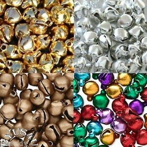 JINGLE-BELL-METAL-choose-color-size-CRAFT-JEWELRY-EMBELLISHMENT-100pk