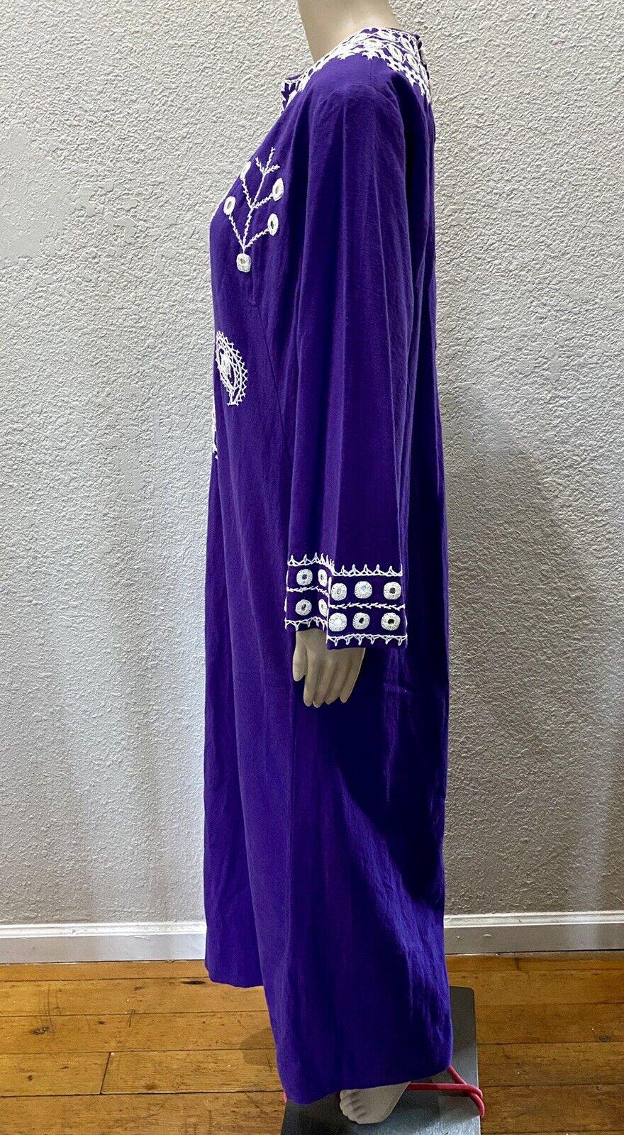 Ramona Rull Purple Cotton MIRROR Embroidery 60s B… - image 7