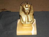 Vintage Brass /Metal Egyptian Bust Figurine of Tutankhamun on Marble base