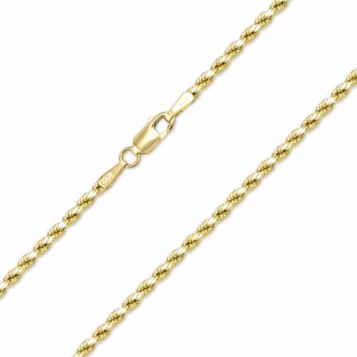 10K Yellow Gold Hollow Diamond Cut Rope Necklace Chain 2.5mm 16-30 - Women Men