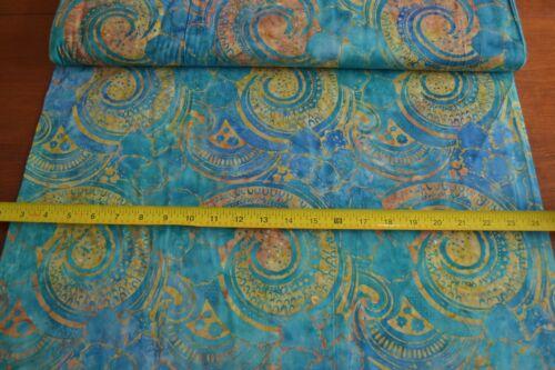 By 1/2 Yd Blue Turquoise Gold Tonga Batik, Timeless Treasures/B7791/MARINE, B829