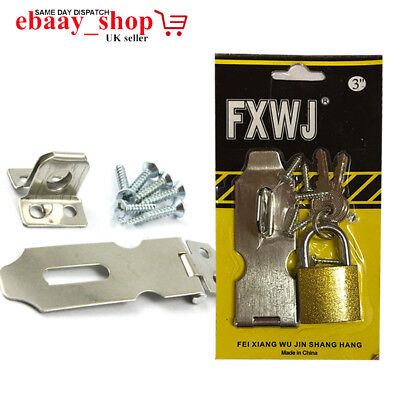 Hasp and Staple Safety Gate Door Shed Latch Lock Box Chest With Brass Padlock
