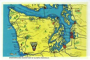 Details about Olympic Peninsula Washington, State Map, Seattle, Tacoma etc.  -- Modern Postcard