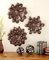 Set Of 3 Metal Wall Art Flowers Sculpture Decor Large Floral Hanging 2 Finishes