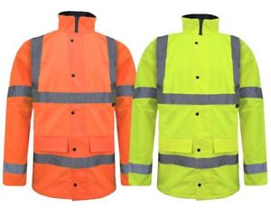 HI VIZ VISIBILITY WATERPROOF BOMBER JACKET STANDARD PARKA SAFETY WORK COAT 8-20