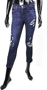 Modeste Gj2-119 H&m Jeans Femmes Skinny Slim Bottines Bleu W27 L26 Stretch Ripped