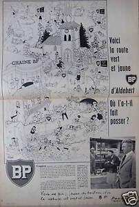 PUBLICITE-1958-BP-VOICI-LA-ROUTE-VERT-ET-JAUNE-D-039-ALDEBERT-ADVERTISING