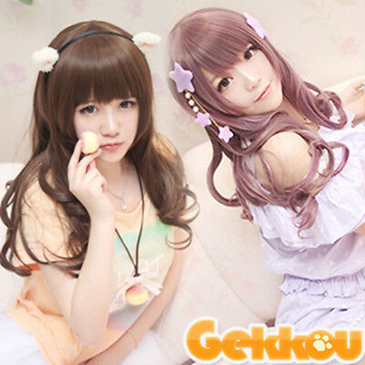 Japanese Multicolor  and Long Straight Cosplay Wig+Free delivery hair hat