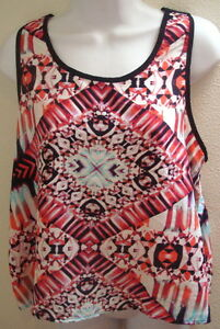 top-blouse-large-l-womens-sheer-black-white-print-sleeveless-new-nwt-casual