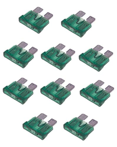 pack of 10 Auto car electrical blade fuses 30 Amp Quick blow STANDARD