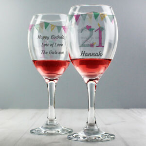 Image Is Loading Personalised Wine Glass 18th 21st Any Age Birthday