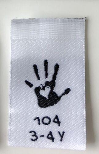 40 des grössenetiketten kindergrössen einnäher Label webetikett Taille 86-104