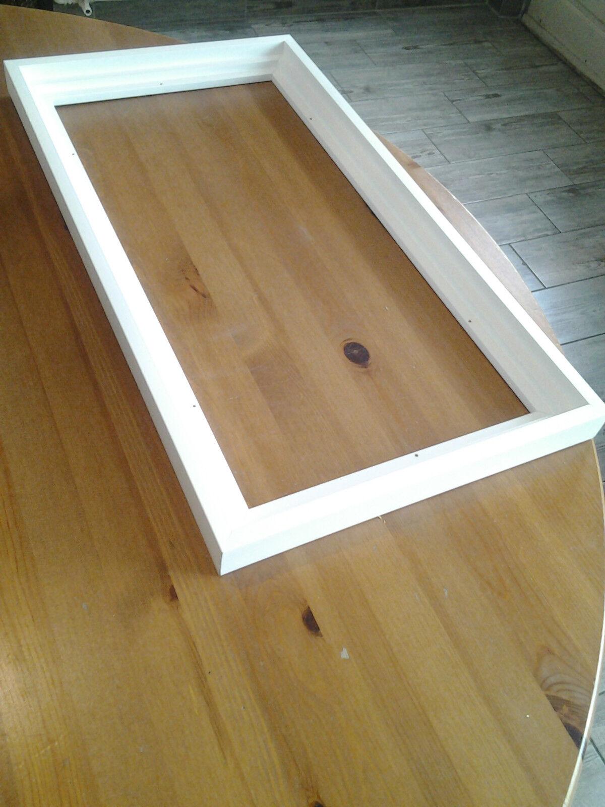 Cadre Caisse américaine en bois,Satinée Blanche,Format allongé 90 x 40 cm et +