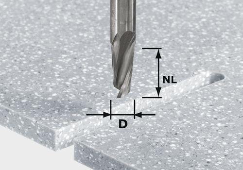 Festool Spiralnutfräser HW Schaft 12 mm HW Spi D12 42 RD ss S12   492655