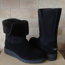 09668956d57 UGG AMIE CLASSIC SLIM BLACK SUEDE SHEEPSKIN WEDGE SHORT BOOTS SIZE US 6.5  WOMENS
