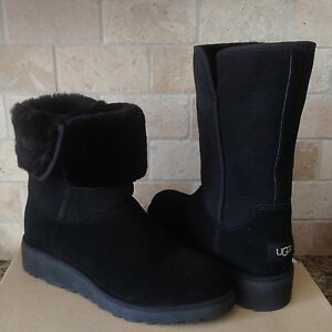 60ed969b066 UGG AMIE CLASSIC SLIM BLACK SUEDE SHEEPSKIN WEDGE SHORT BOOTS SIZE ...