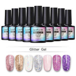 LILYCUTE-Glitter-Sequins-Nail-Gel-Polish-Sparkly-Soak-Off-UV-LED-Gel-Varnish-DIY