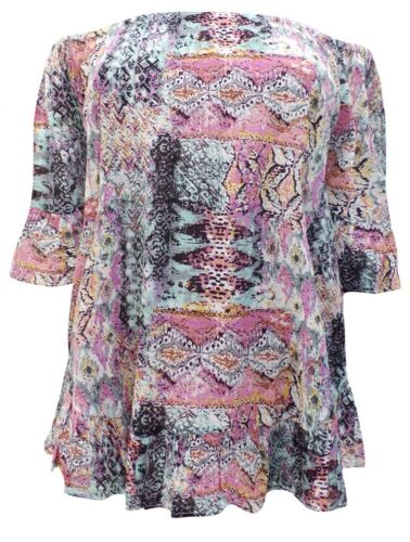 Sizes UK 22-30//32 BNWT Yours Multi Print On//Off The Shoulder Panelled Top