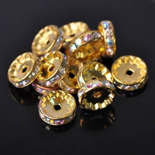 30pcs 12mm Gold AB Metal /& Crystal Rhinestones Rondelle Loose Spacer Beads Lots