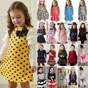 Girls-Skater-Kids-Long-Sleeve-Party-Fit-Flare-Winter-Autumn-Dress-Ages-1-9-Years