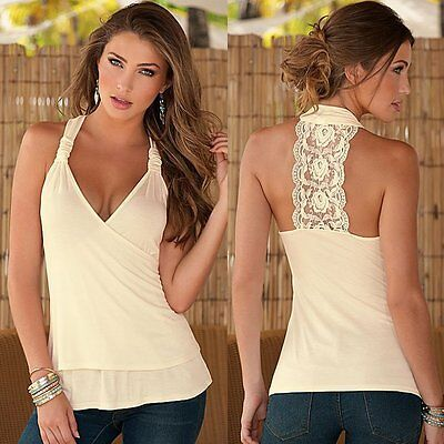 Sexy Women Lady Summer Lace Vest Top Sleeveless Casual Tank T-Shirt Blouse Tops