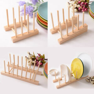 Image is loading Plate-Rack-Pot-Lid-Holder-Cabinet-Stand-Storage- & Plate Rack Pot Lid Holder Cabinet Stand Storage Wood Dish Home ...