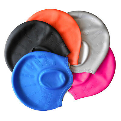 Unisex Adult Silicone Stretch Swimming Long Hair Cap Hat With Ear Cup Waterproof