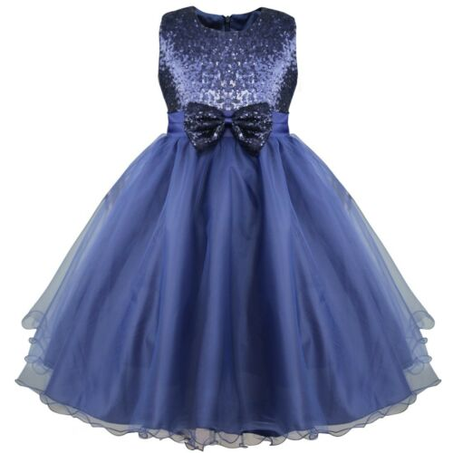 Kids Baby Flower Girls Party Sequins Dress Wedding Bridesmaid Princess Ball Gown