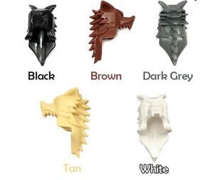 Custom WOLF PELT HELM for Lego Minifigures Black White or Brown -Castle Viking