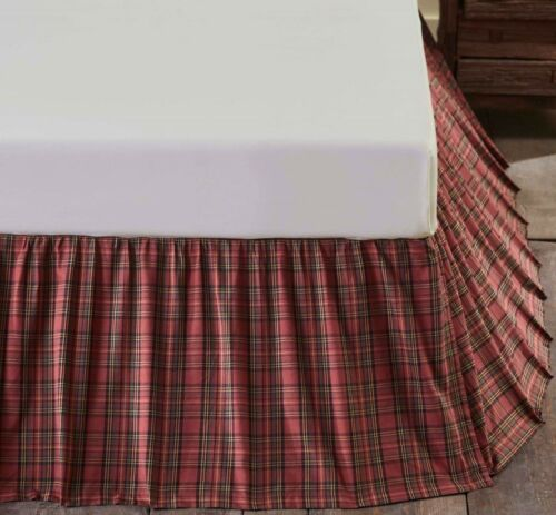 """Ruffled Bed Skirt Poinsettia Red and Green Tartan Plaid Natural Cotton 16/"""" Drop"""