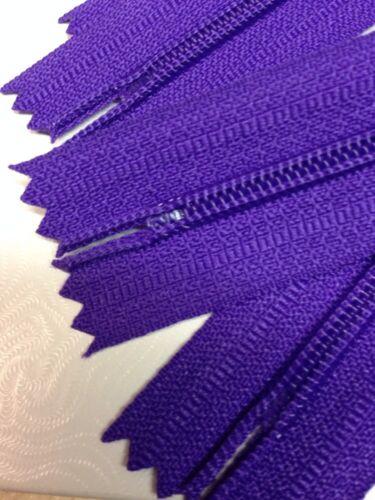 "Nylon 5.1mm WHOLESALE LOT OF 10 LONG PULL HANDBAG ZIPPERS 18/"" Purple #4"