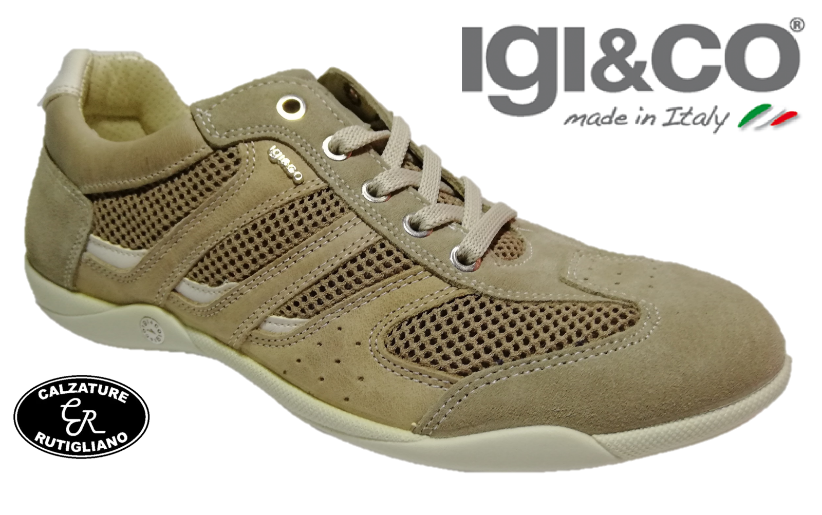 IGI&CO chaussures hommes baskets SCAMOSCIATO RETE BEIGE PLANTARE ESTRAIBILE - 37312