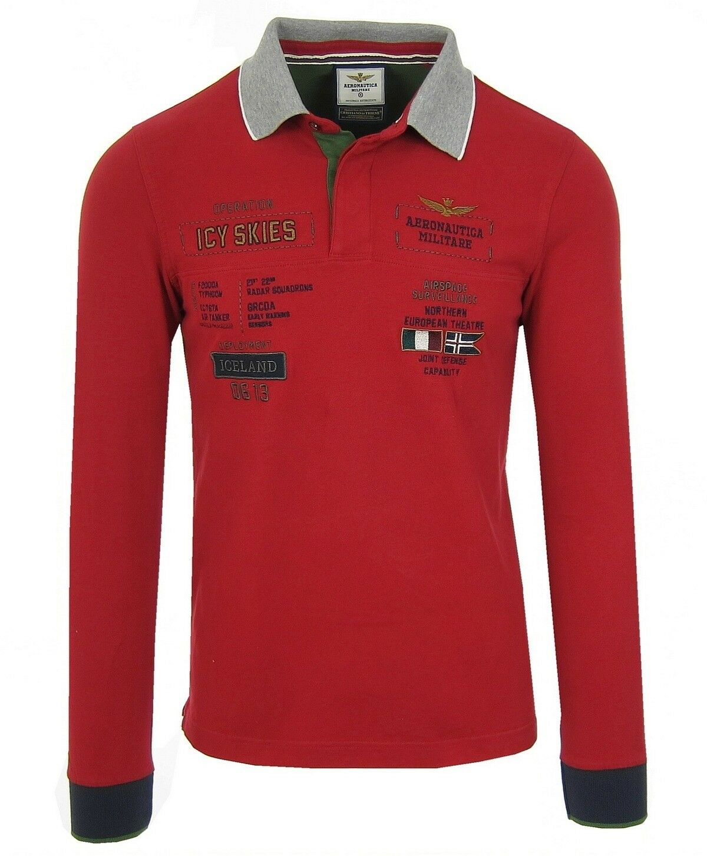 AERONAUTICA MILITARE Herren männer Polohemd Langarmhemd Longsleeve schweiß Rot rot