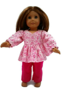 Flannel-Pajamas-18-in-Doll-Clothes-fits-American-Girl-Dolls-Peace-signs-amp-Hearts