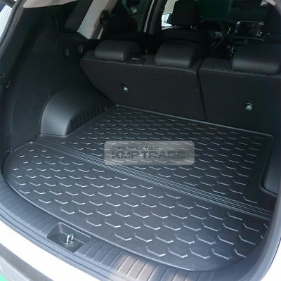 1pcs Black Color Car Boot Pad Carpet Trunk Cargo Liner Floor Mat Molded Cargo Tray Custom fit For Hyundai Santa Fe 7 Passenger 2012 2013 2014 2015 2016 2017 2018 2019