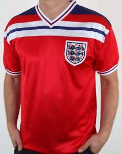 England 1982 Away Shirt in Red - Score Draw replica, short sleeve 82 World Cup