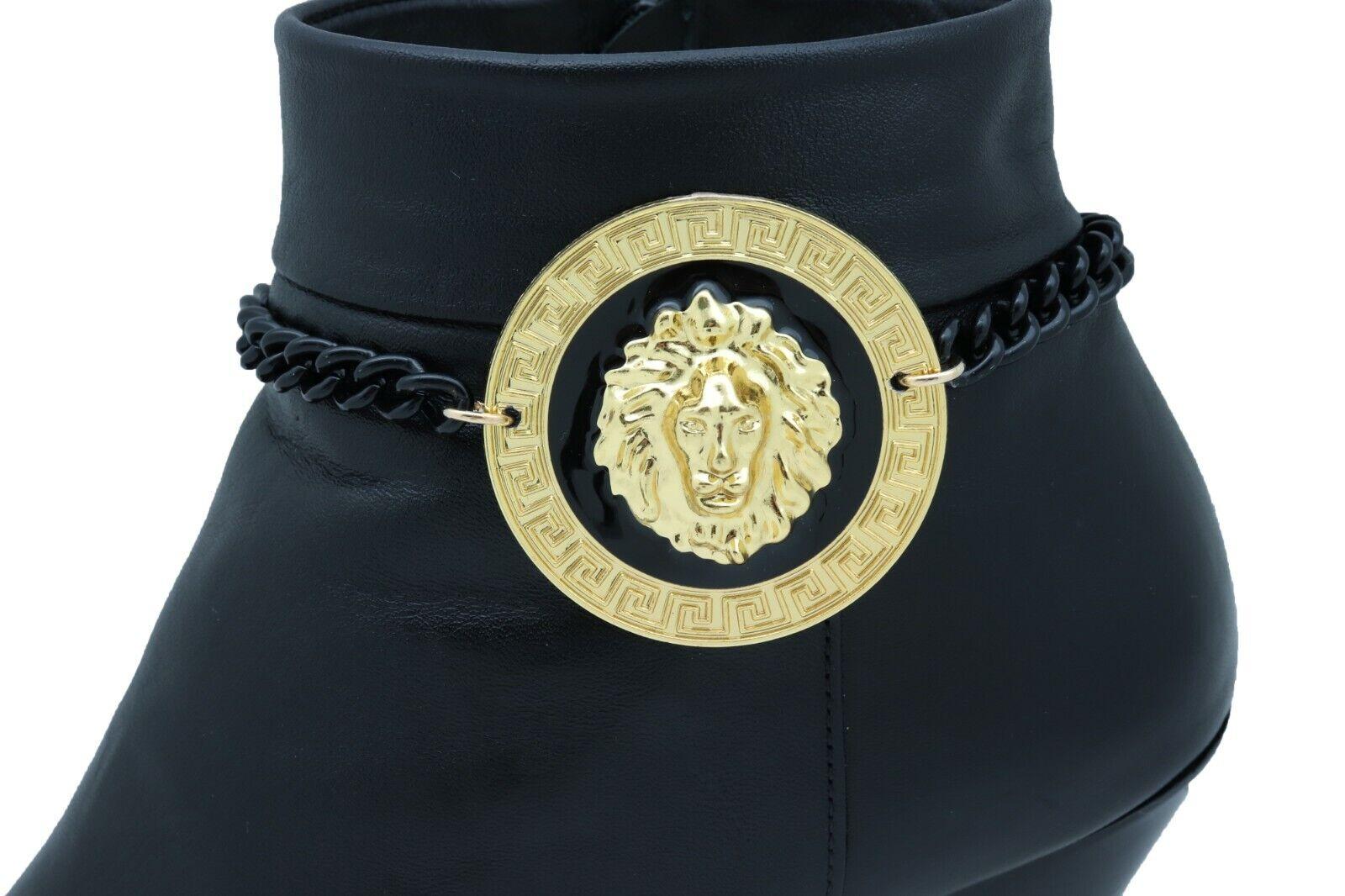 Women Black Metal Chain Boot Bracelet Shoe Anklet Gold Lion Charm Wrap Around