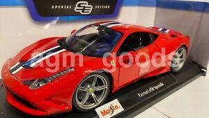 1-18-Maisto-Escala-Ferrari-458-Speciale-Rojo-Diecast-Modelo-Coche