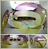 Oversize Vintage Retro Style Sun Glasses Gold Rimless Frame Purple & Yellow Lens