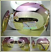 Oversize Vintage Retro Style Sun Glasses Gold Rimless Frame Purple & Yellow Lens