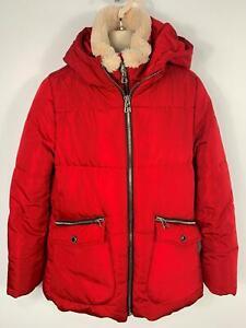 Le-Ragazze-Zara-Rosso-Doppia-Cerniera-Imbottito-Invernale-Cappuccio-Giacca-Impermeabile-Bambini-Eta