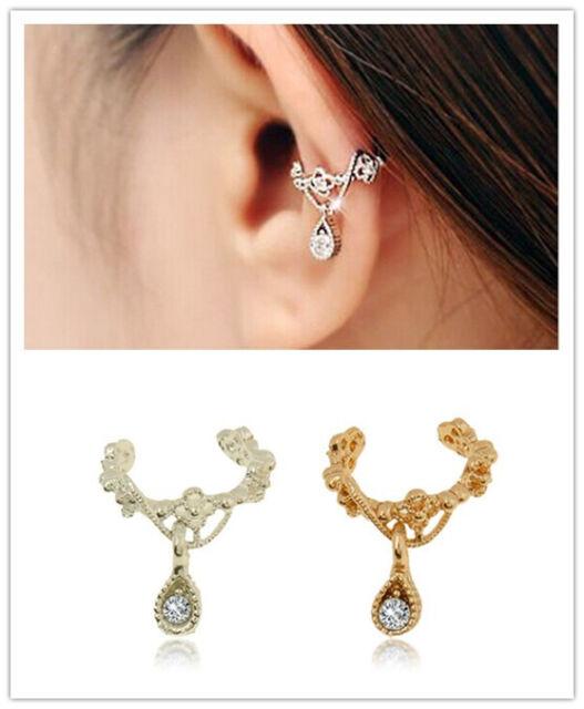 fashion Ear Cuff Wrap Rhinestone Cartilage Clip On Earring Non Piercing womens