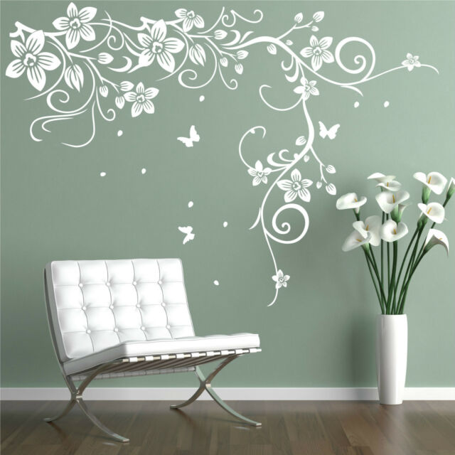Butterfly Vine Flower Vinyl Wall Art Stickers, Wall Decals, Wall Graphics