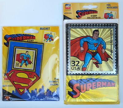 SUPERMAN SHIELD / STAMP MAGNET &  FOIL NOTECARDS USPS Exclusives MIP