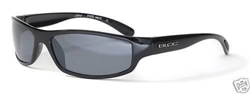 BLOC HORNET P100 Mens//Womens POLARISED Sunglasses SHINY BLACK GREY CAT.3