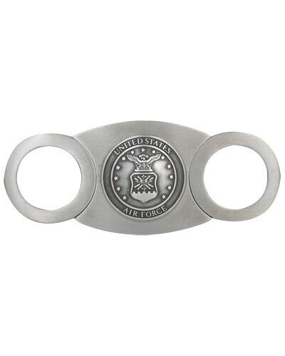 Stainless Steel 54rg Double Guillotine Pewter Cigar Cutter Air Force Gift Box