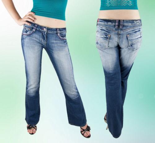 Damen Jeans Jeanshose Schlaghose Hüftig Blau 34 36 38 40