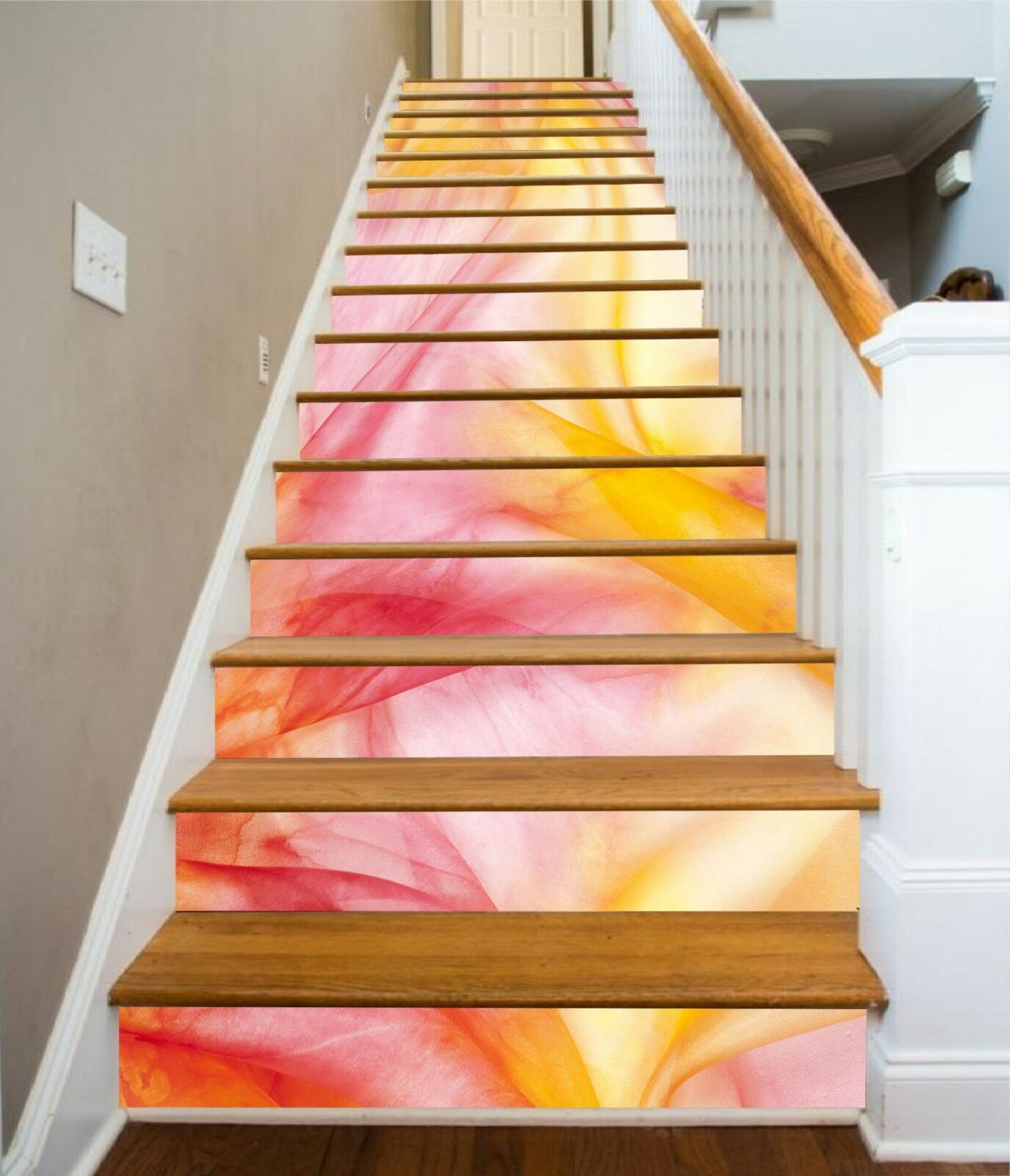 3D Farbe Waves 2 Stair Risers Decoration Photo Mural Vinyl Decal Wallpaper UK